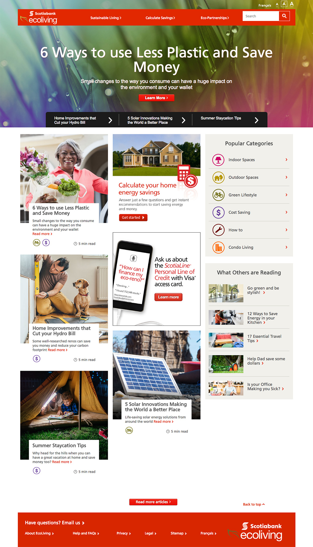Scotiabank EcoLiving Website Homepage